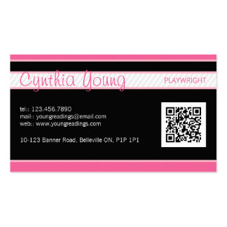 Tela a rayas diagonal - rosa tarjetas de visita