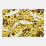 Tela amarilla de las flores de los pájaros de Nouv Toalla De Cocina