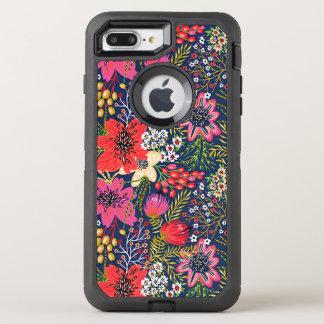 Tela brillante del estampado de flores del vintage funda OtterBox defender para iPhone 7 plus