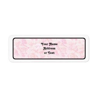 Tela color de rosa rosada etiquetas de remite