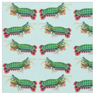 Tela colorida del camarón de predicador del pavo telas