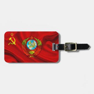 Tela comunista vieja de la bandera de URSS Etiquetas De Equipaje