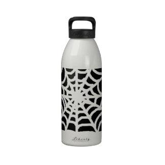 Tela de araña blanco y negro botella de agua reutilizable