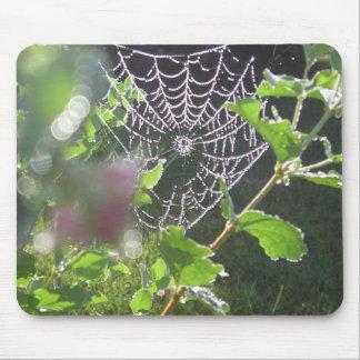 tela de araña con descensos de rocío alfombrilla de raton
