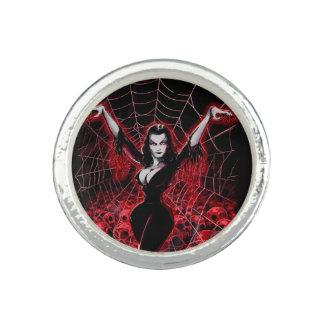 Tela de araña de Vampira gótica Anillo Con Foto