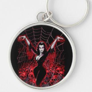 Tela de araña de Vampira gótica Llavero Redondo Plateado