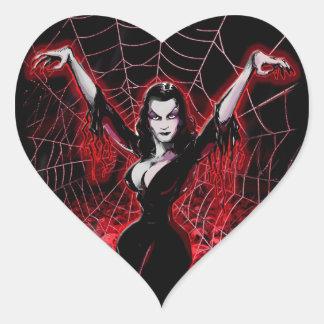 Tela de araña de Vampira gótica Pegatina En Forma De Corazón