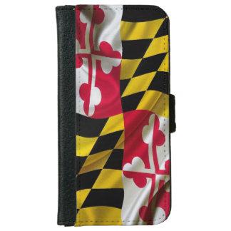 Tela de la bandera de Maryland Funda Cartera Para iPhone 6