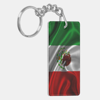 Tela de la bandera de México Llavero Rectangular Acrílico A Doble Cara