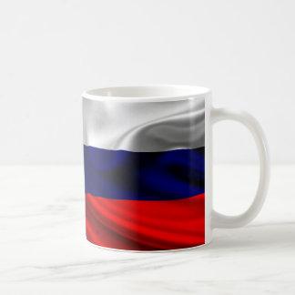 Tela de la bandera de Rusia Taza Básica Blanca