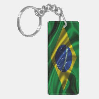 Tela de la bandera del Brasil Llavero Rectangular Acrílico A Doble Cara