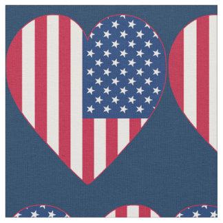 Tela de los corazones de la bandera americana telas