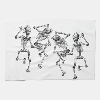 Tela de los esqueletos del baile para los artes toallas de mano
