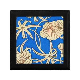 Tela de seda japonesa - azul y beige cajas de recuerdo