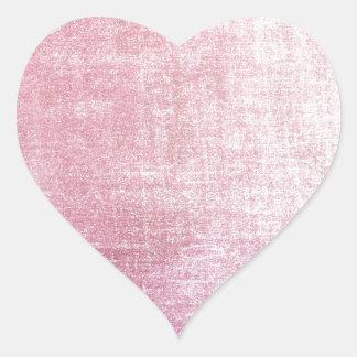 Tela de seda rústica rosada del vintage usada pegatina corazon