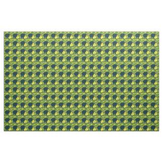 Tela del elefante en verde, amarillo y negro telas