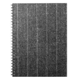 Tela del negro de la pizarra del tweed de la tela libro de apuntes con espiral
