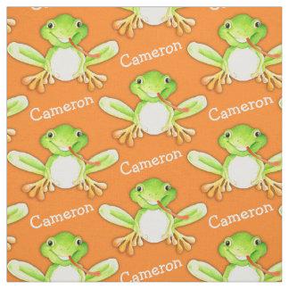Tela del nombre del arte de la acuarela de la rana telas