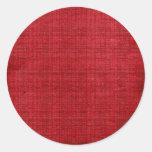 Tela del rojo rico etiqueta redonda
