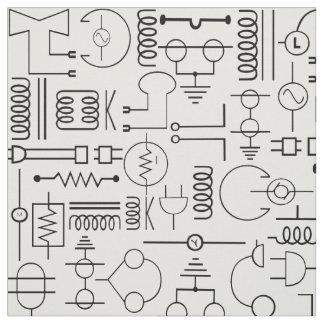 Tela eléctrica de los símbolos en blanco y negro telas
