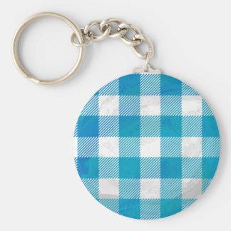 Tela escocesa a cuadros azul y blanca del búfalo llavero redondo tipo pin