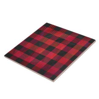 Tela escocesa a cuadros roja y negra azulejo cuadrado grande