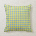 Tela escocesa amarilla del azul de n almohada