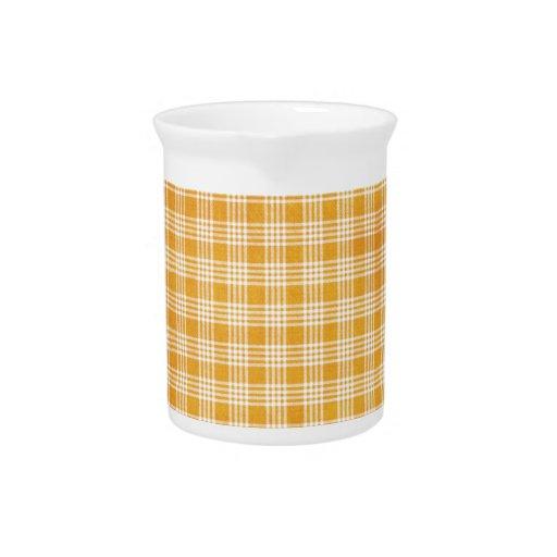 Tela escocesa amarilla jarras para bebida