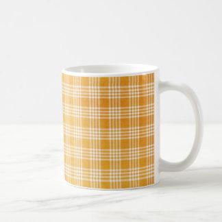Tela escocesa amarilla taza de café