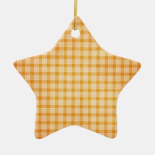 Tela escocesa amarilla y blanca adorno de cerámica en forma de estrella