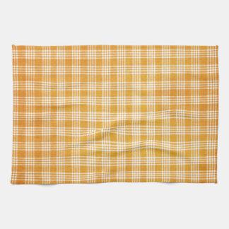 Tela escocesa amarilla y blanca toallas de mano