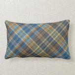 Tela escocesa anaranjada azul almohada