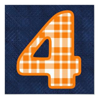 """Tela escocesa anaranjada conocida de encargo V06G Invitación 5.25"""" X 5.25"""""""