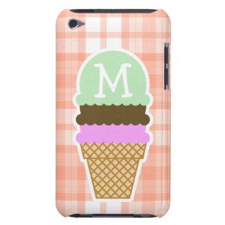 Tela escocesa anaranjada linda; Cono de helado Funda Para iPod
