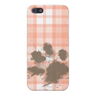 Tela escocesa anaranjada linda; Perro divertido iPhone 5 Coberturas