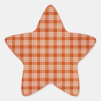 Tela escocesa anaranjada pegatina en forma de estrella
