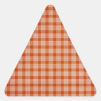 Tela escocesa anaranjada pegatina triangular