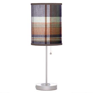 Tela escocesa anaranjada y azul lámpara de escritorio