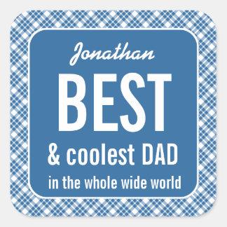 Tela escocesa azul A01 del papá mejor y más fresco Pegatina Cuadrada