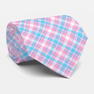 Tela escocesa azul clara, rosada y blanca corbata