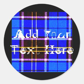 Tela escocesa azul de neón, punk no muerto pegatina redonda