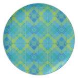 Tela escocesa azul del diamante platos de comidas