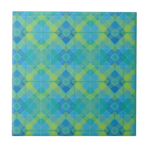 Tela escocesa azul del diamante tejas  cerámicas