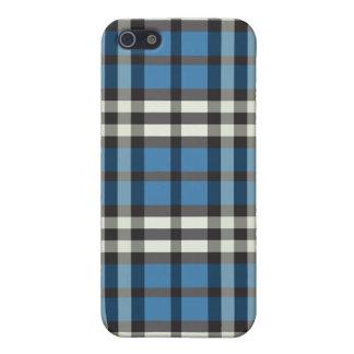 Tela escocesa azul/negra Pern iPhone 5 Fundas