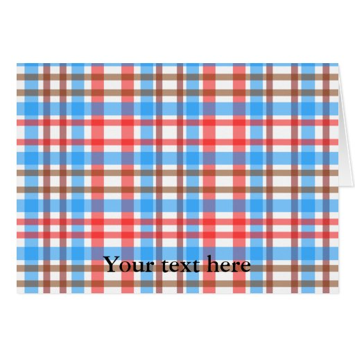 Tela escocesa azul roja blanca marrón retra tarjeta