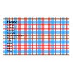 Tela escocesa azul roja blanca marrón retra tarjetas de visita