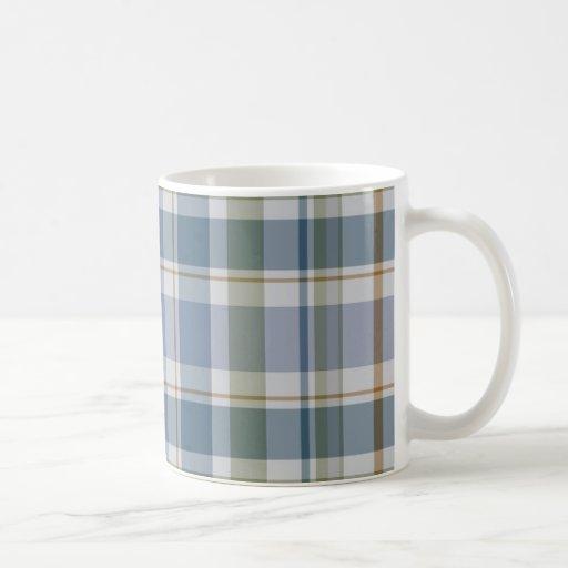 Tela escocesa azul tazas de café