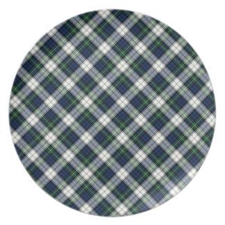Tela escocesa azul y blanca del tartán del vestido platos para fiestas