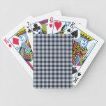 Tela escocesa azul y negra cartas de juego