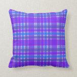 Tela escocesa azul y púrpura cojines